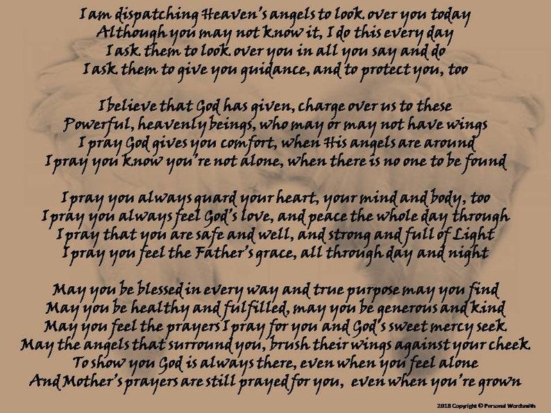 Mother to Child Prayer Poem, Printable Angel Poem, Christian Rhyming Prayer  Download, Downloadable Prayer Dispatching Angels Over Children