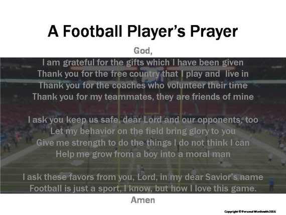 Football Prayer Digital Print Football Player S Prayer Etsy How to pray the lord's prayer. football prayer digital print football player s prayer download athlete s prayer ditigal print football pregame christian prayer print