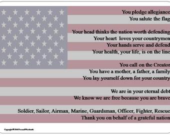 Memorial Day Appreciation Digital Print, Download Veteran's Poem, Memorial Poem for Military Service, Veteran's Digital Download Poem Photo