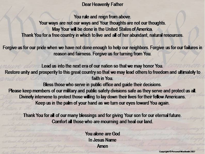 Memorial Day Christian Prayer, Prayer Print for Flag Day, Independence Day  Prayer Wall Art, Veterans Day Prayer Digital Downlaod, Flag Art