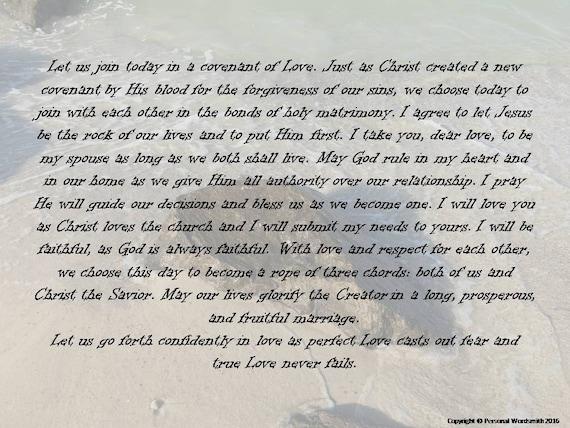Christian Marriage Vows Digital Print Downloadable Covenant Wedding Vows Christian Covenant Wedding Vows Digital Print Art