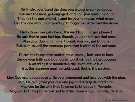 Poème De Fiançailles Pour Mariée Poème Pour Une Poésie De Digital Impression Téléchargeable Mariée Mariée Mariage Conseils Poème Pour Une Mariée