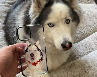 Custom Pet Illustrated Impact Protective Phone Case, gift for dog lover, dog gift ideas, Custom Pet Portrait, Mother Gift, Impact case