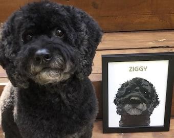 Custom Pet Portrait. Framed Dog Portrait, Digital Dog Art Pet Commission, Custom Dog Picture, Custom Wall Art, Personalized Home Decor