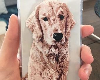 Custom Pet Illustrated Phone Case, gift for dog lover, dog gift ideas, Custom Pet Portrait, Fiance Gift , Pet Illustration, dog loss gift