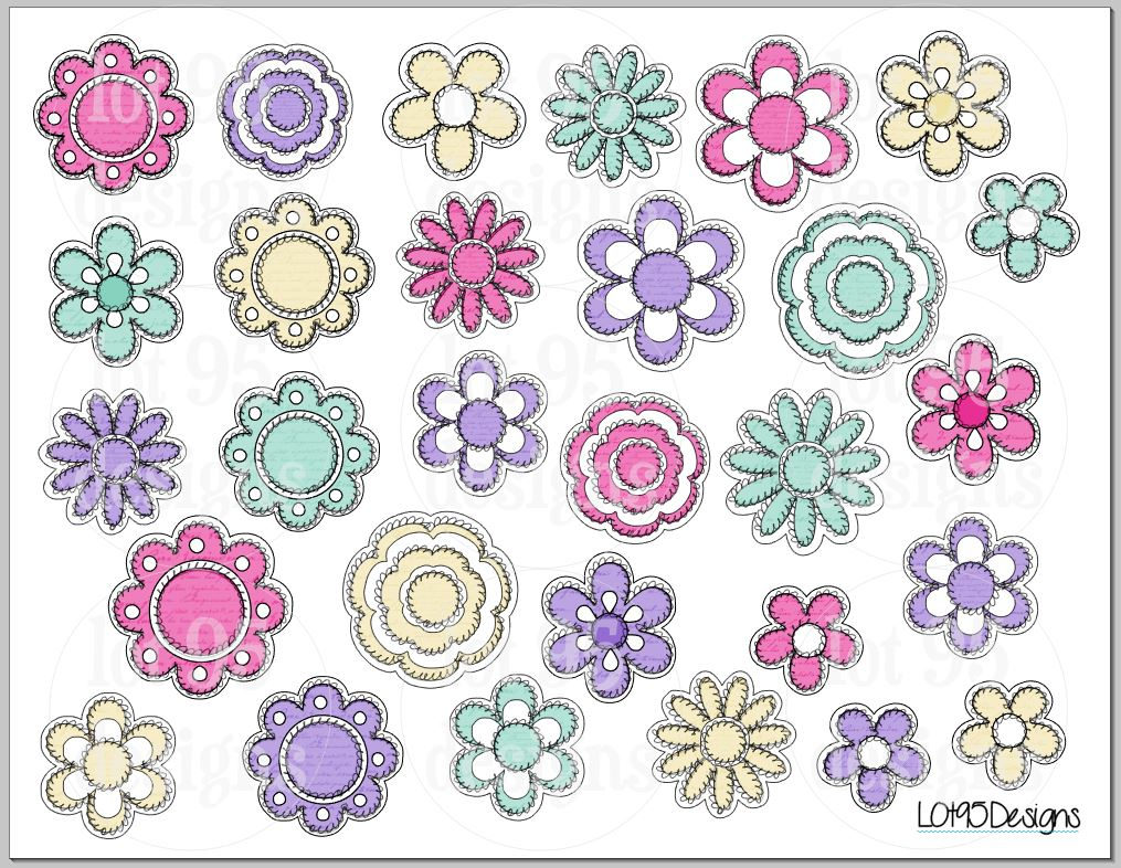 printable womens script flower stickers 8.5x11 | etsy