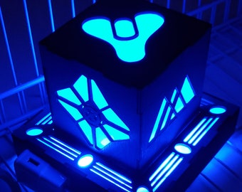Destiny Inspired led lantern with base light - Outlet powered with usb cable/plug and remote