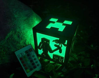 Creeper Miner Inspired Color changing lantern light box