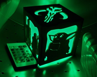 Mandalore wars Inspired Lantern - battery led with remote control - now with Baby Yod