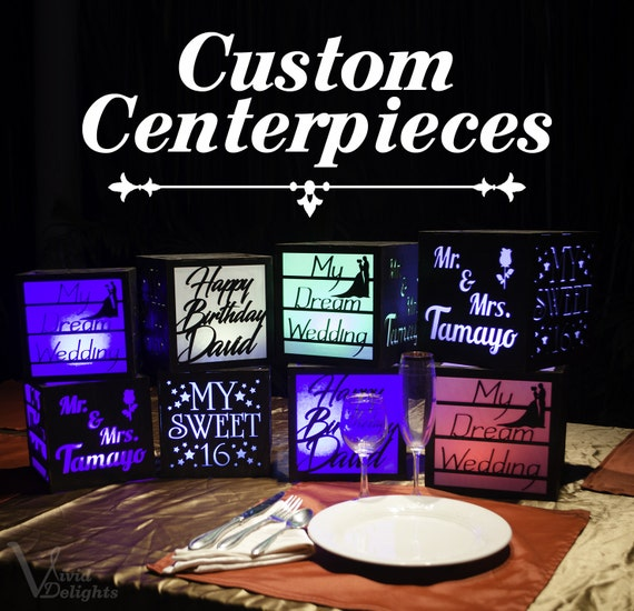 Custom Centerpieces With Led Remote Color Changing Lights Etsy