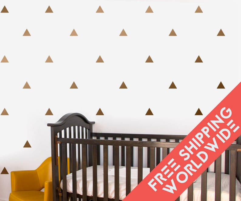 metallic copper triangle baby wall decals decor stickers | etsy