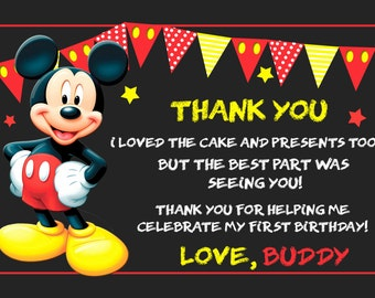 Mickey Mouse thank you card x 20