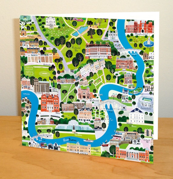 South West London Map.River Thames South West London Greetings Card