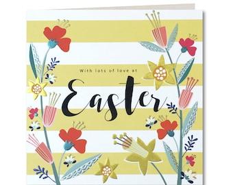 Breton Collection - Happy Easter Card - Floral - Stripes - Laura Darrington Design - BR24
