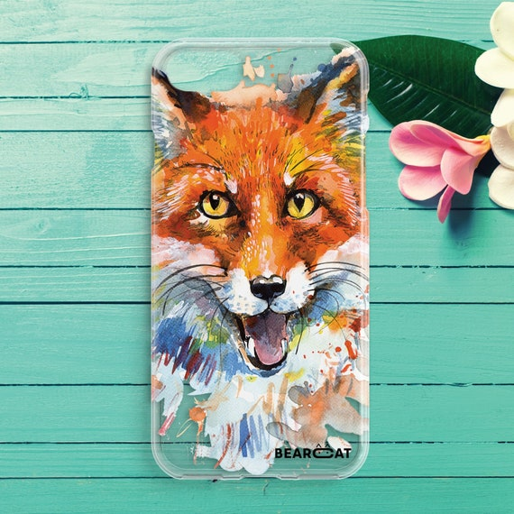 Fox phone case Wild animal iPhone case Art case Printed case Gift for her  Red fox head stamp