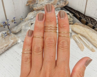Midi knuckle rings, set of 8 - 14K gold-plated, 24K gold-plated, sterling silver, or brass - bohemian boho bridesmaids gifts for her