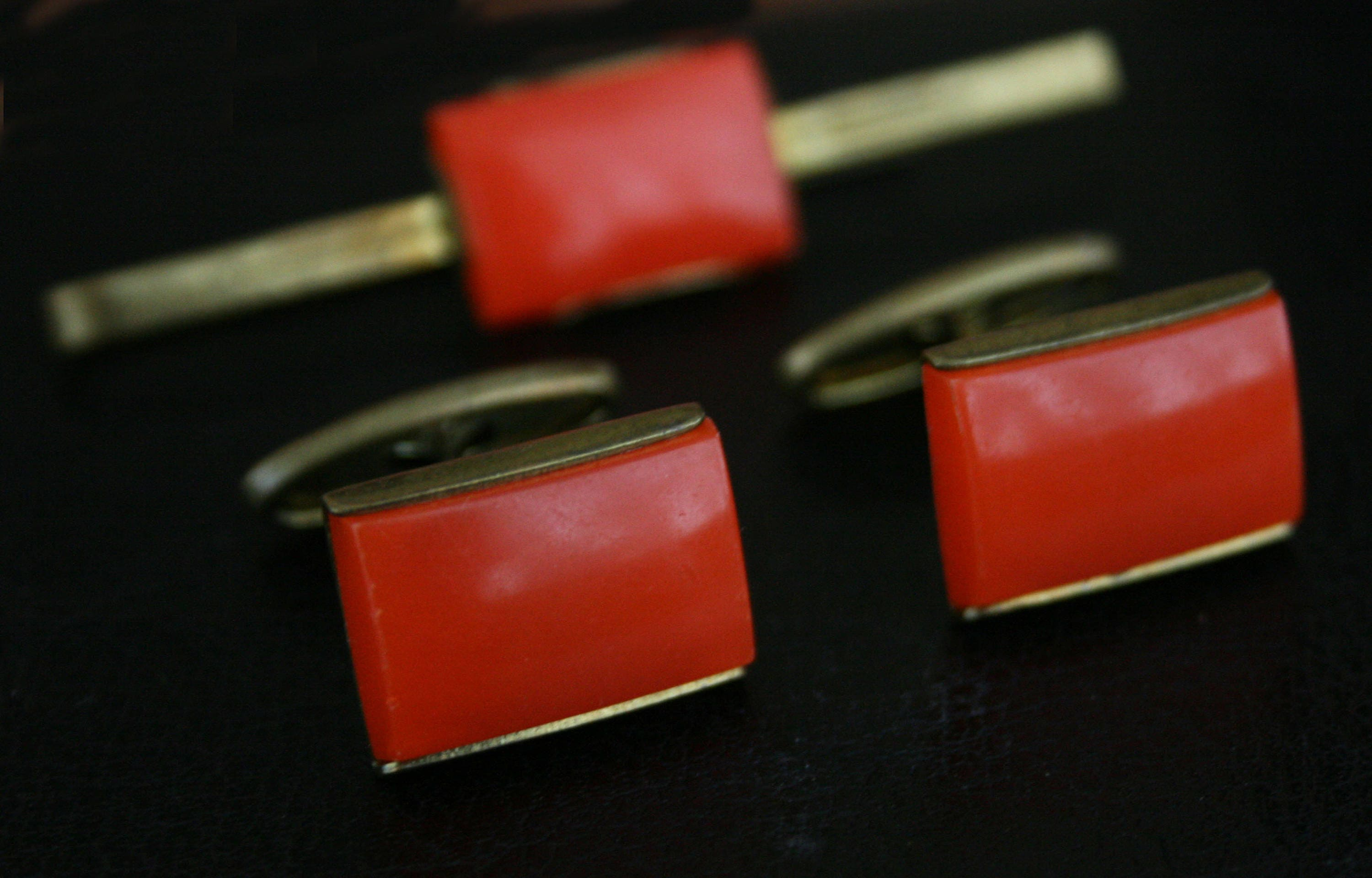 Select Gifts USSR Soviet Text Gold-tone Square Cufflinks with Pouch
