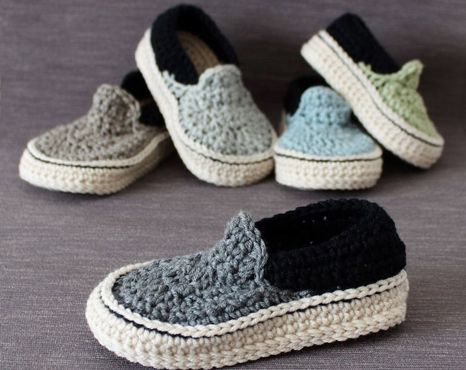 Crochet PATTERN. Toddler Vans style slippers. Instant download.