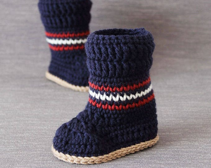 Crochet PATTERN  Tommy babybooties. Waistcoat stitch instructions included.