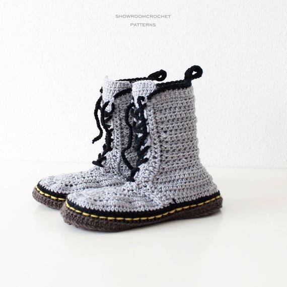 Patron de crochet zapatillas estilo Martens talla adultos   Etsy