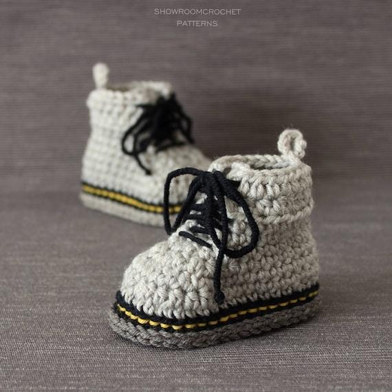 Patron de crochet botas bebe estilo Martens | Etsy