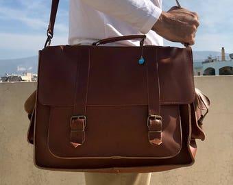 17 inch Leather Messenger Bag, Laptop Bag, Leather Briefcase, Shoulder Bag, Brown Messenger Bag, Handbag, Men's Briefcase, Made in Greece.