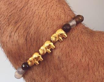 Men's Beaded Bracelet, Bright Beaded Bracelet Men, Elephant Bracelet, Men's Bracelet, Gift for Him, Made in Greece.