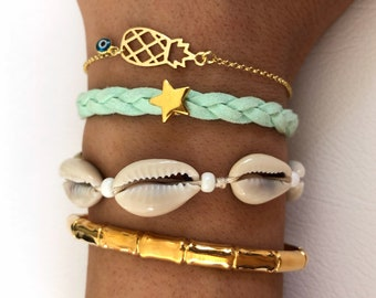 Gold Bracelets, Gold Star Bracelet, Pinneaple Bracelet, Gold Cuff Bracelet, Shells Bracelet, Gift for Her, Women's Bracelets.