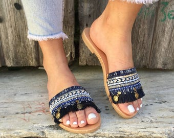 Leather Slides Sandals, Leather Sandals, Slip On Sandals, Flat Sandals, Greek Sandals, Women's Sandals, Made from Genuine Leather.