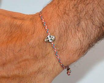 Men's Skull Bracelet, Men's Bracelet, Multi-Color Bracelet, Men's Jewelry, Human Skull Bracelet, Gift For Him. Handmade In Greece.