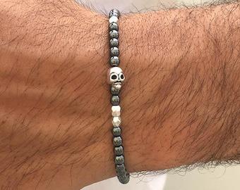 Men's Skull Bracelet, Men's Jewelry, Skull Jewelry, Gift for Him, Made in Greece by Christina Christi Jewels.