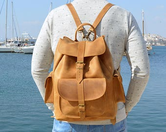 Brown Leather Backpack, Travel Backpack, Leather Rucksack, Made in Greece from Full Grain Leather, EXTRA LARGE.