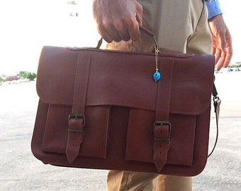 Brown Leather Briefcase, 15 inch Laptop Bag, Messenger Bag, Brown Briefcase, Men's Briefcase, Brown Messenger Bag, Handbag, Made in Greece.