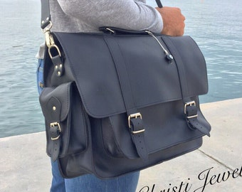 Black Leather Briefcase, Leather Messenger Bag, Men's Handbag, Men's Messenger Bag, Laptop Briefcase, 17 inch Laptop Bag, Made in Greece.