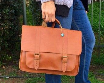 Men's Leather Briefcase, 17'' Laptop Bag, Professional Bag, Leather Messenger Bag, Shoulder Bag, Laptop Briefcase, Made in Greece.