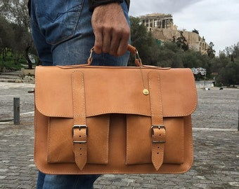 Leather Briefcase, 15 inch Laptop Bag, Leather Laptop Bag, Leather Messenger Bag, Men's Briefcase, Handbag, College Bag, Made in Greece.