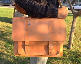 Professional Bag, Men's Leather Briefcase, Leather Laptop Bag, Leather Messenger Bag, Men's Briefcase, 17'' Laptop Bag, Made in Greece.