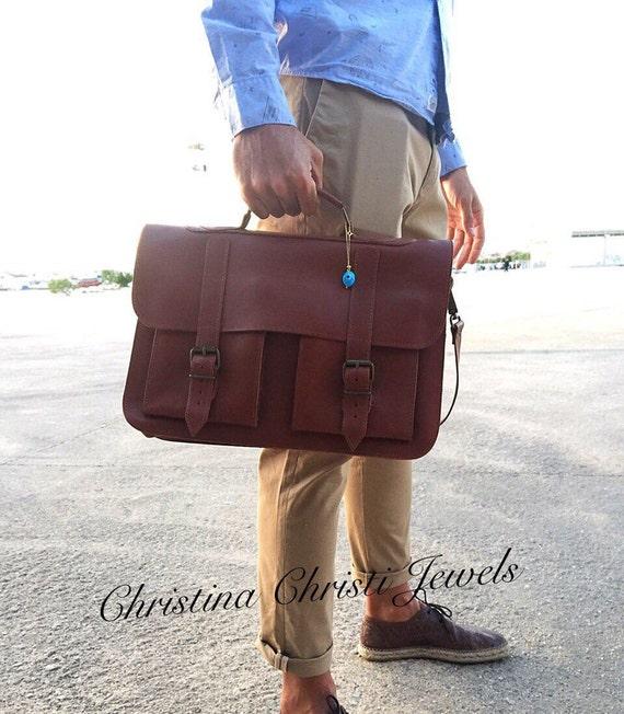 d425c99ffe Brown Leather Briefcase 15 inch Laptop Bag Messenger Bag