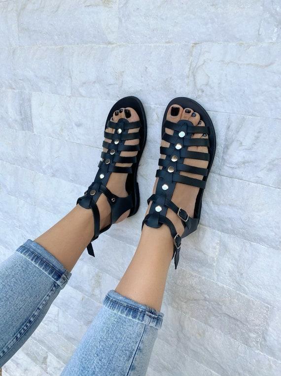 Black Gladiator Sandals Women Leather