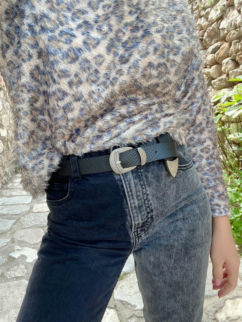 Black Belt Silver Buckle Real Genuine Leather Belt Made in Greece. Gift for Her Women Belt Buckle Belt