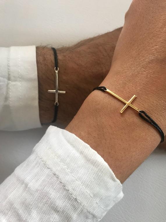 Gold Dainty Cross Bracelet Cross Jewelry Gift for Women Cross Charm Gold Bracelet Made in Greece from Sterling Silver 925.