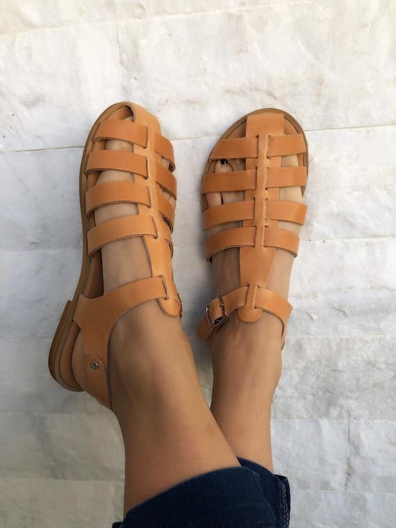 Women Gladiator Sandals Strap Sandals Christmas Gift Women Sandals OrangeBrown Leather Sandals Strap Sandals-YB22 Greek Sandals