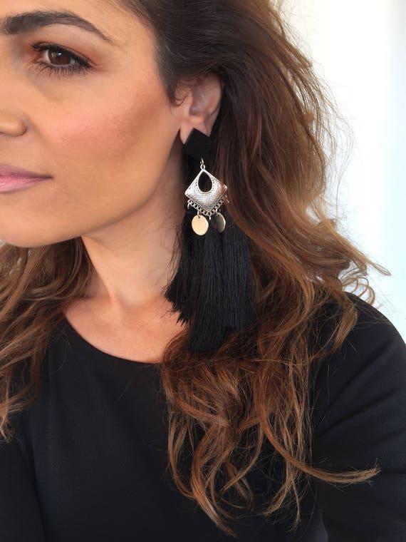 Gift for Her Clip Earrings Non Pierced Earrings Black Earrings Clip On Earrings Made in Greece. Circle Earrings