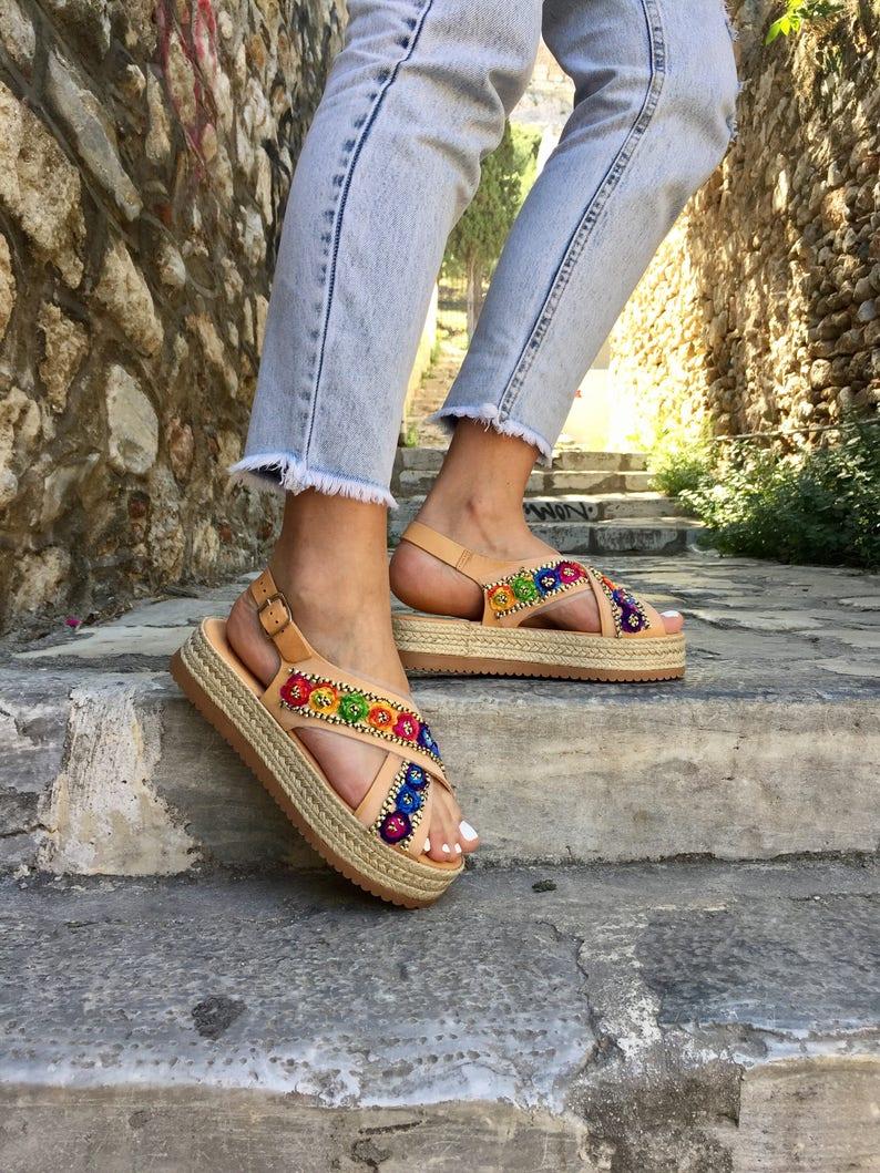 84afd803b2e3e6 Leather Flatform Sandals Leather Sandals Flat Sandals