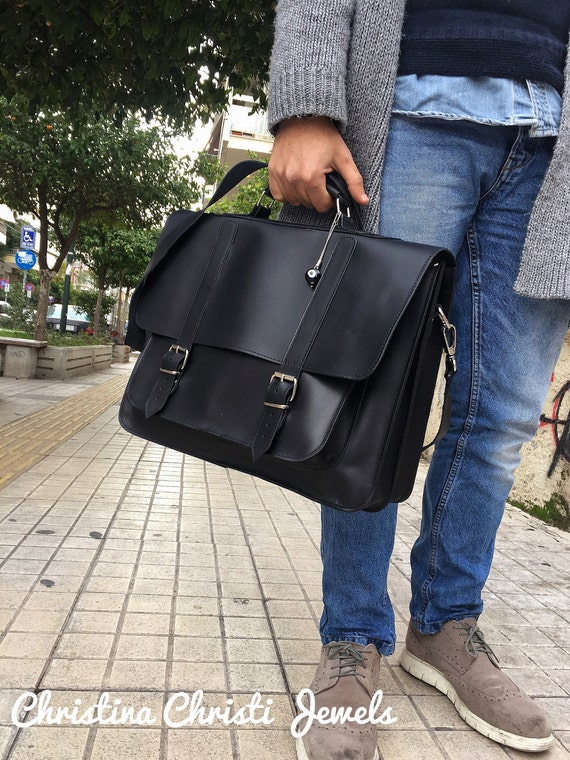 8b25cfd6c3a4 Leather Briefcase Men Black Leather Messenger Bag Men s