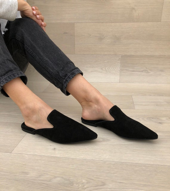 Women's Mules Black Leather Mules Black Mules Suede   Etsy