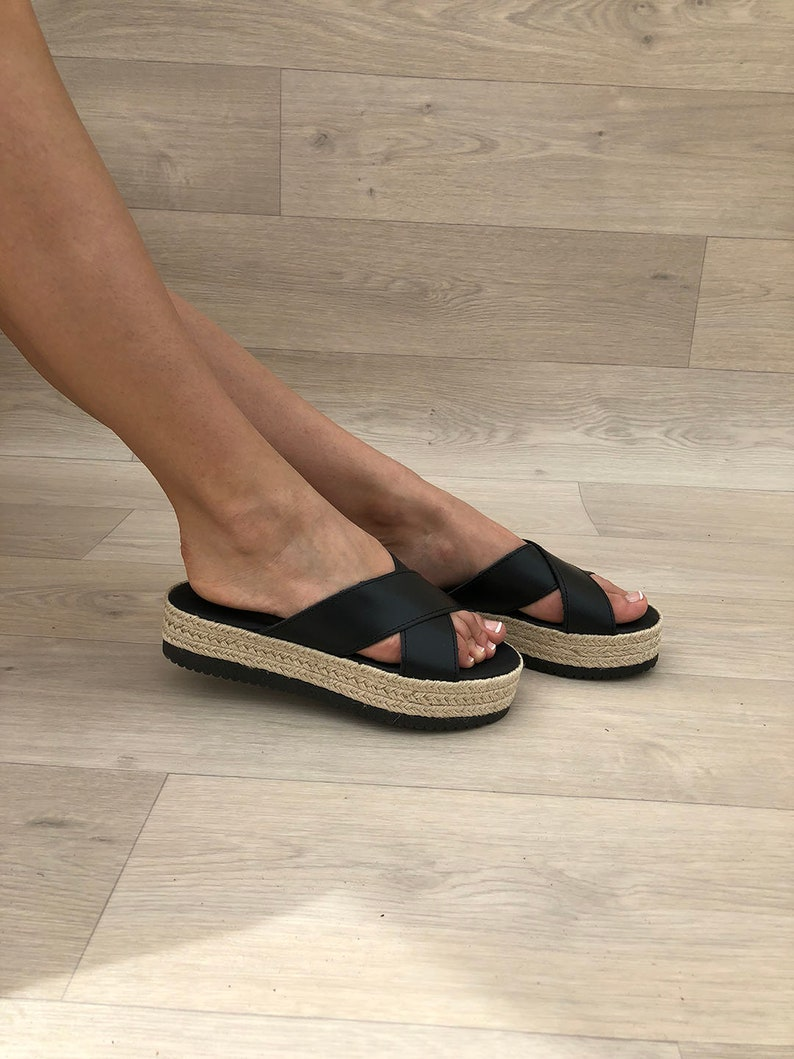7512706e5 Leather Platforms Black Leather Sandals Flat Sandals