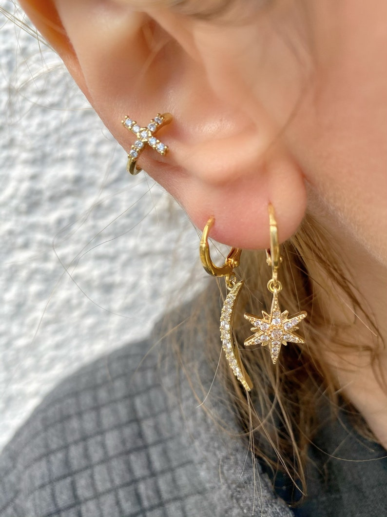 Gift for Her Star Jewelry Gold Earrings Tiny Earrings Star Earrings Minimal Stud Earrings Made in Greece.