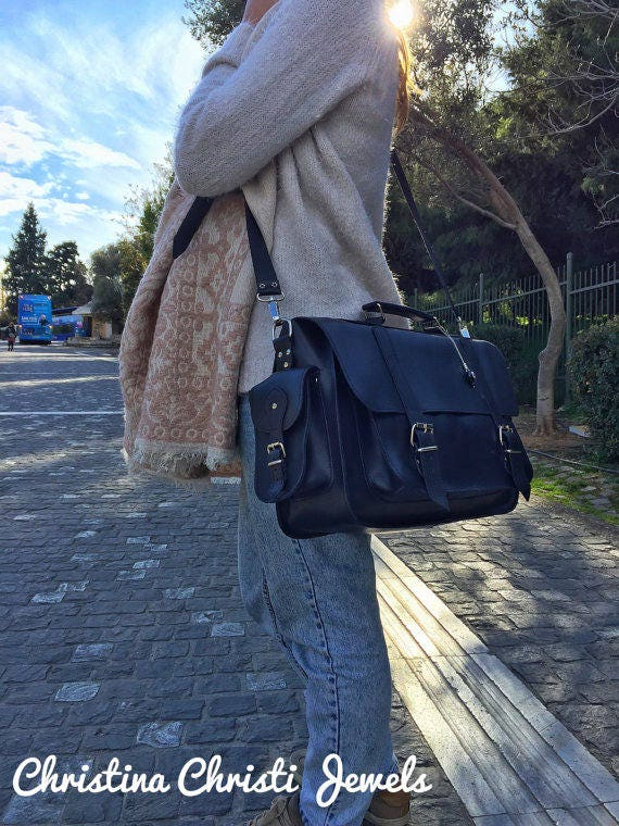 Leather Briefcase Women Black Leather Messenger Bag Etsy