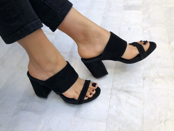 Black Heeled Sandals Mules Sandals